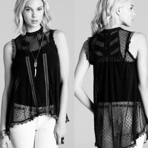 Free People Fiona Victorian Black Lace Top